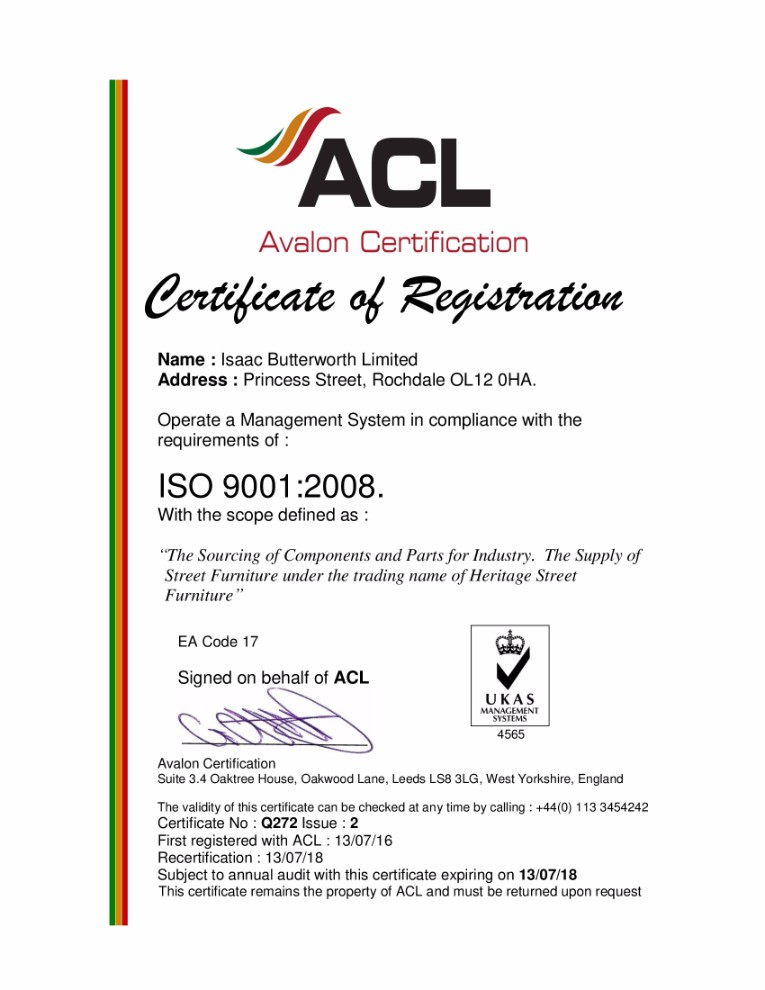 Isaac Butterworth Ltd ISO9000:2008 Certificate